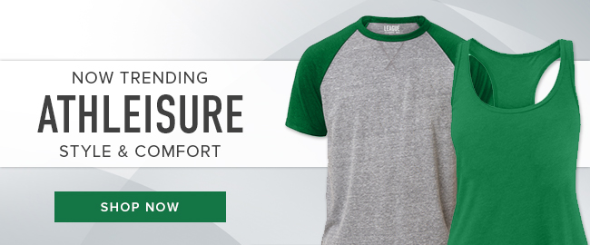 Picture of athletic wear. Now trending: Athleisure style and comfort. Click to shop now.
